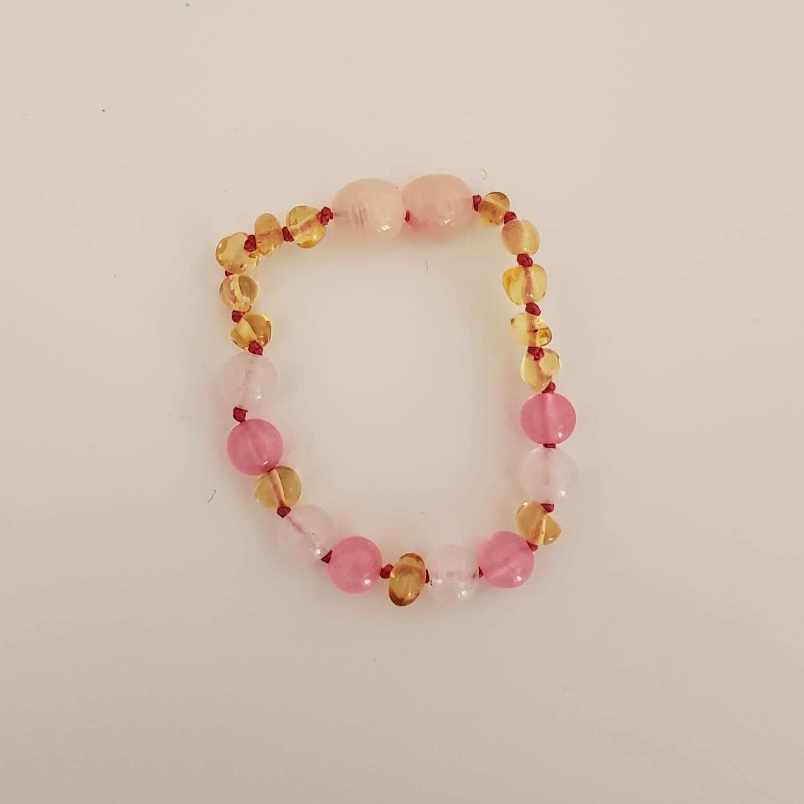 Pulseira Ambar Infantil com Pedras Rosa - 14cm