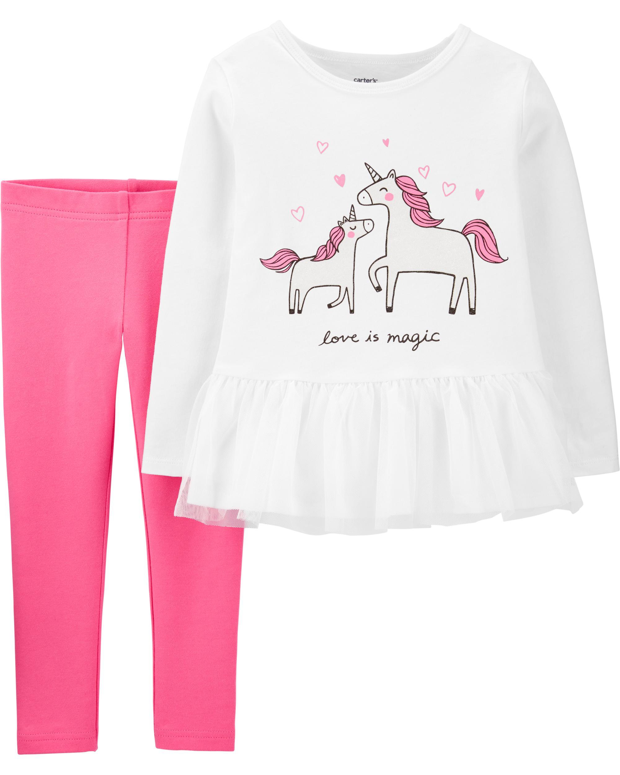 Conjunto Carters Blusa Manga Longa Branca Unicornio Menina