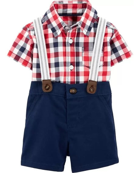 Conjunto Carters Camisa Xadrez com Suspensório Menino