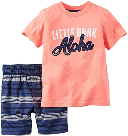 Conjunto Carters Camiseta Laranja Menino