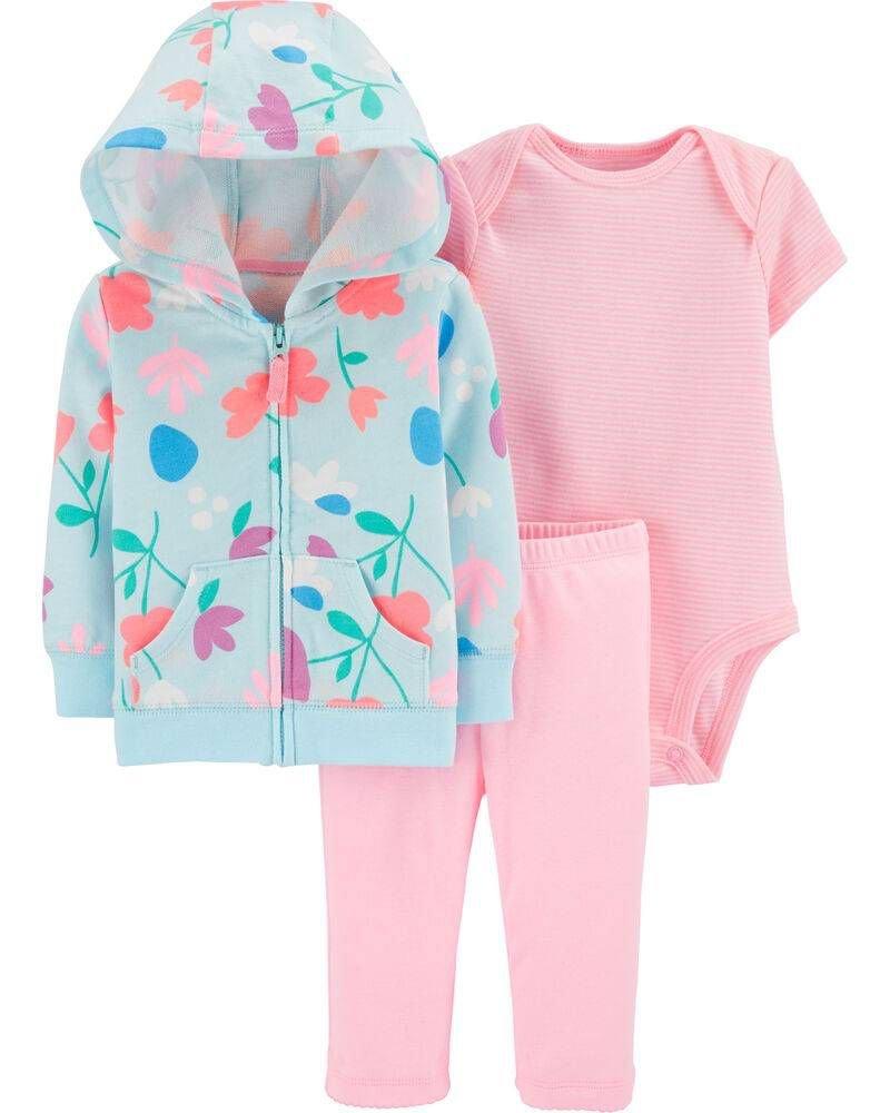 Conjunto Carters Moletinho Azul Floral e Calça Menina