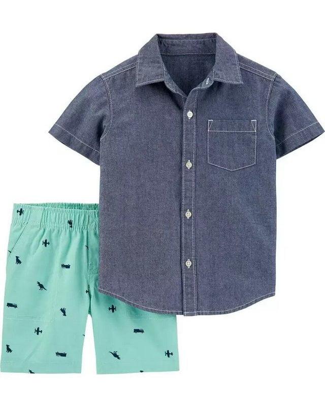 Conjunto Carters Verão Camisa Jeans e Shorts Menino
