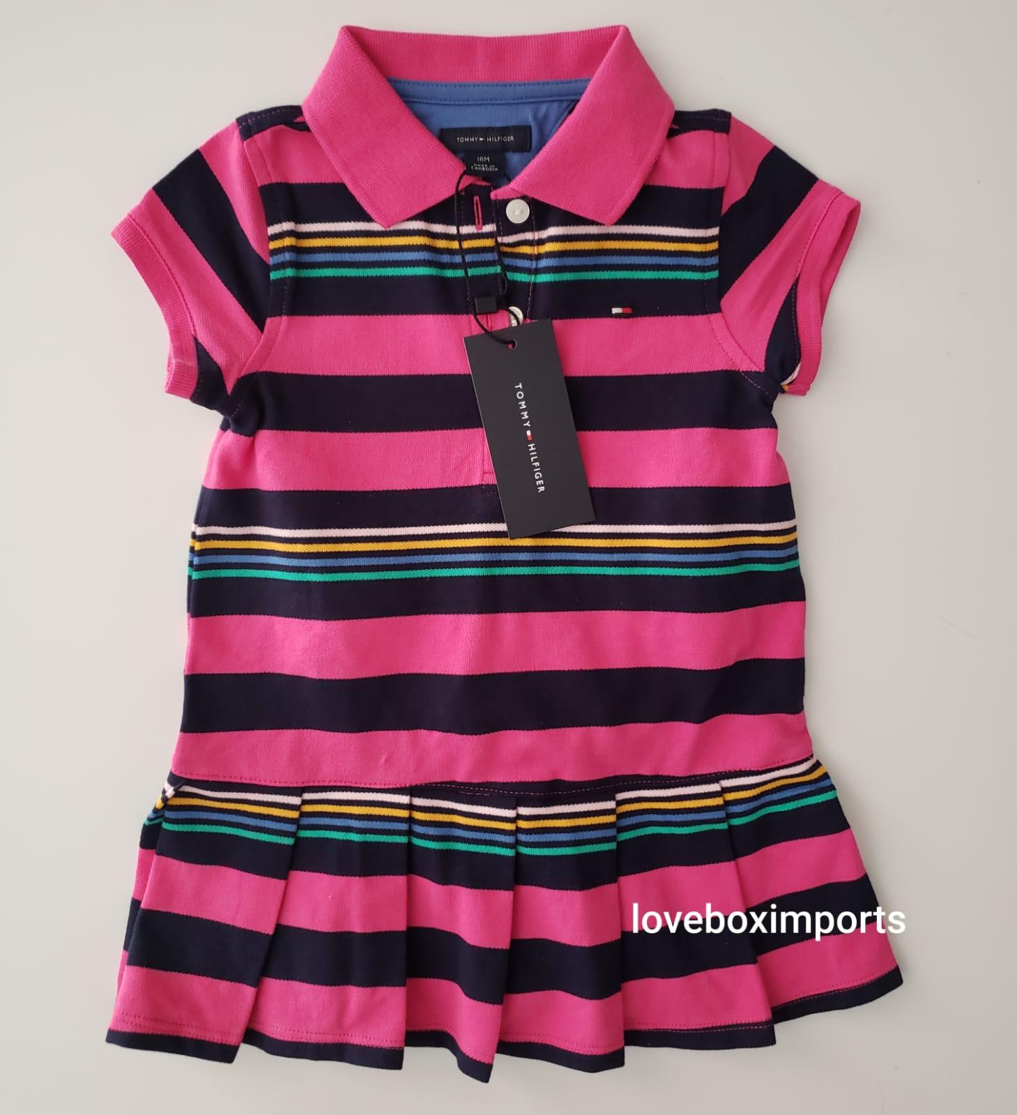 Vestido Infantil Tommy Rosa Listrado