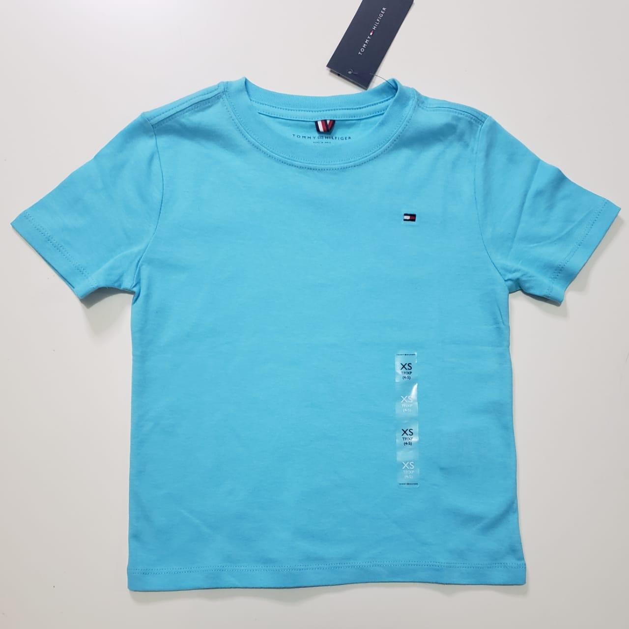 Camiseta Basica Tommy Infantil Azul Piscina