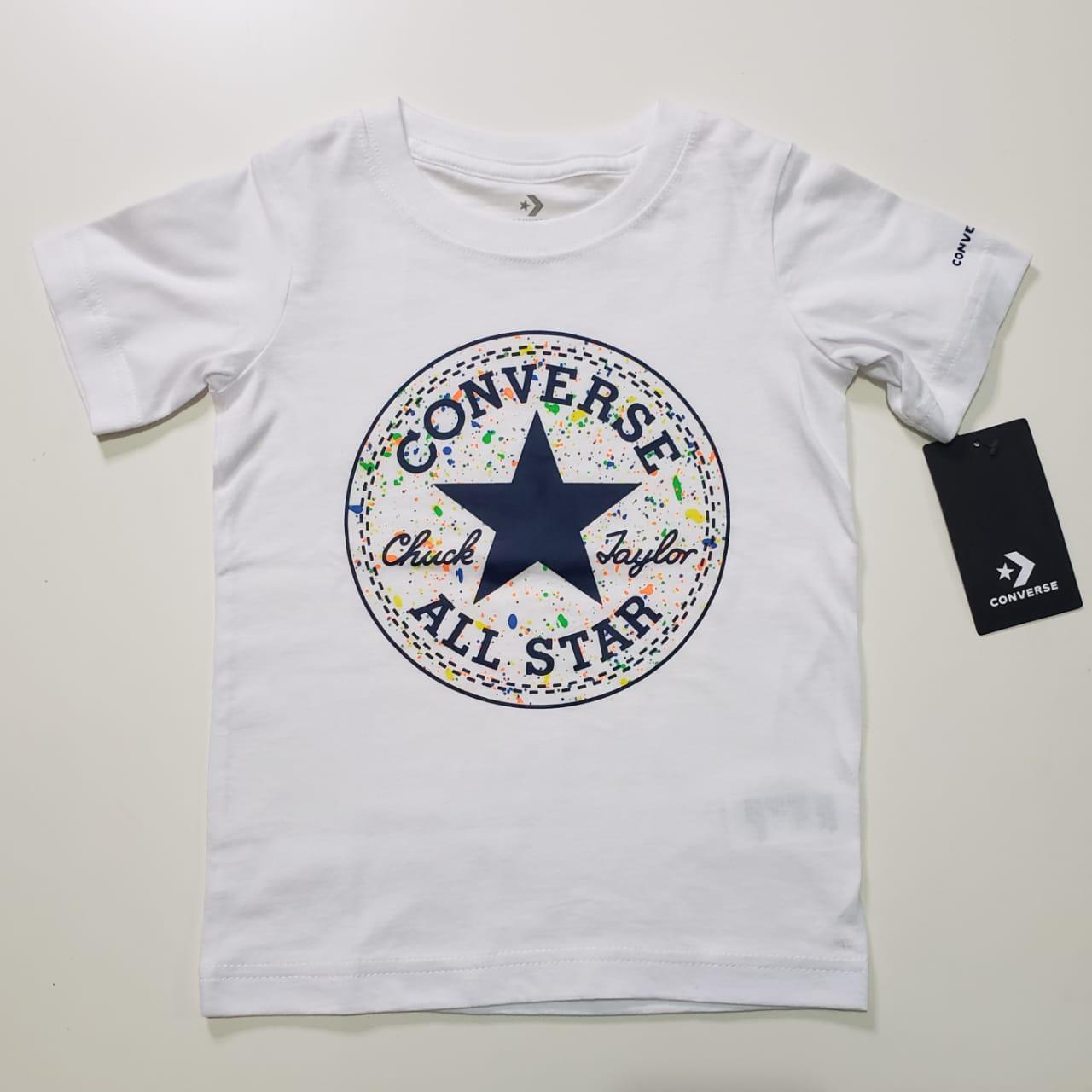 Camiseta Infantil Converse Branca Logo Colorida
