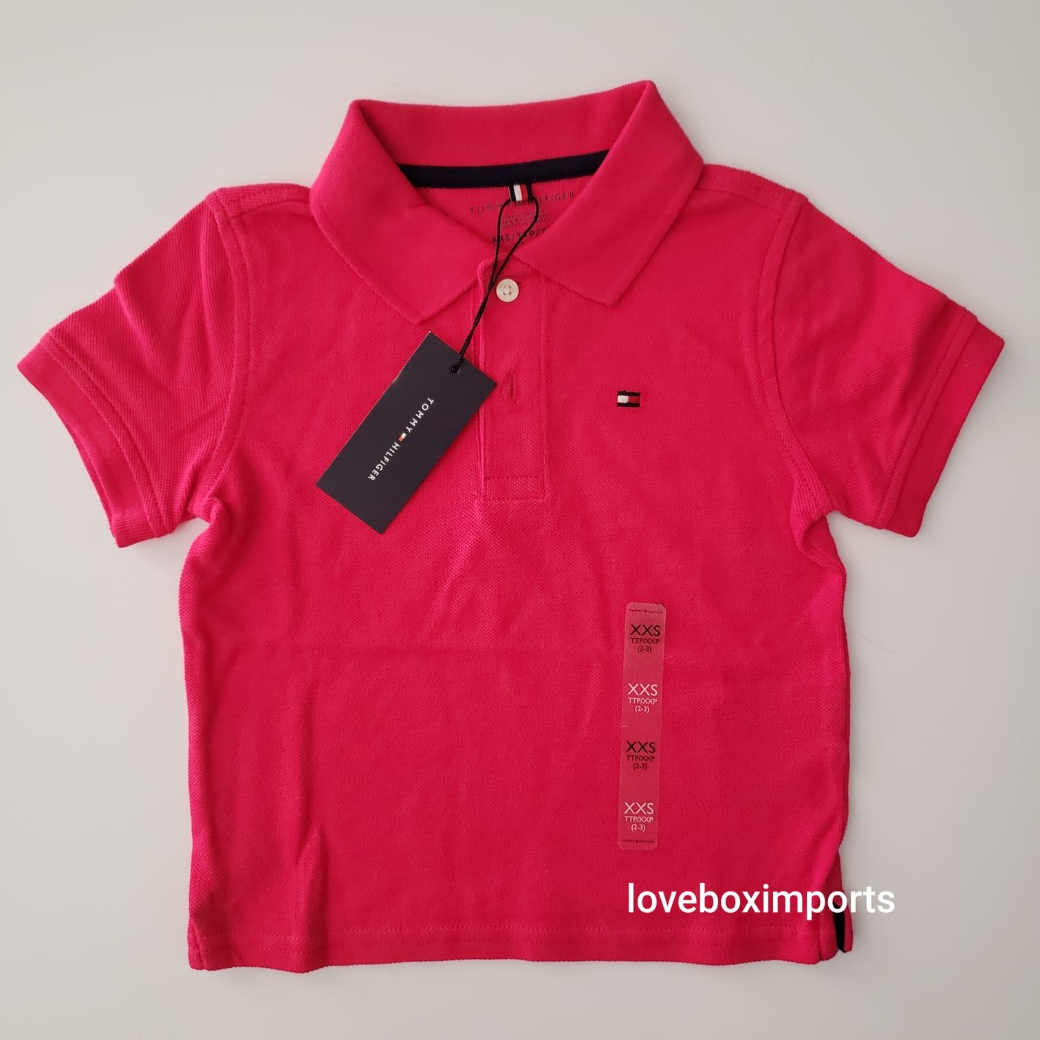 Camiseta Polo Tommy Infantil Rosa