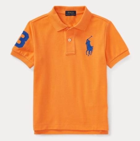 Camiseta Ralph Lauren Big Pony Laranja Infantil Menino