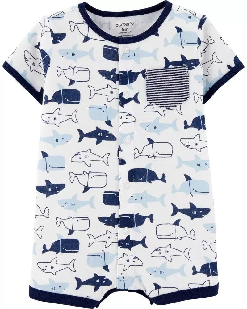 Romper Carters Branco Tubarão Menino