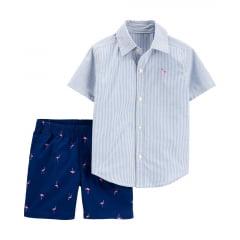 Conjunto Carters Verão Camisa Flamingo e Shorts Menino