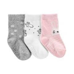 Meia Carters Baby Rosa -  Kit com 3 pares (3-12m)