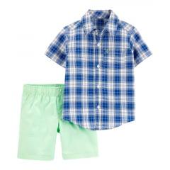 Conjunto Carters Verão Camisa Xadrez e Shorts Menino