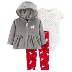 Conjunto Carters Casaco Fleece Cinza e Calça Menina
