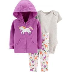 Conjunto Carters Moletinho Lilas Unicornio e Calça Menina