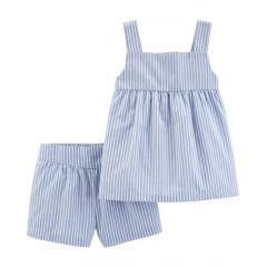 Conjunto Carters Shorts e Batinha Listrada Menina