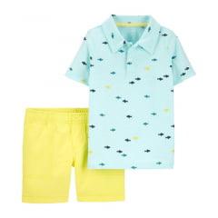 Conjunto Carters Verão Azul Tubarão Menino