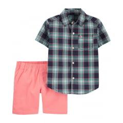 Conjunto Carters Verão Camisa Xadrez com Shorts Menino