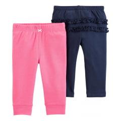 Calça Carters Rosa e Azul Menina - kit com 2 unidades