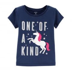 Camiseta Carters Unicornio Azul Marinho Menina