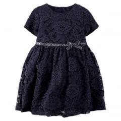 Vestido Carters Festa Renda Azul Menina