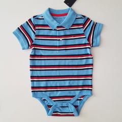 Body Tommy Polo Azul Listrado
