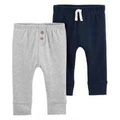Calça Carters Cinza e Azul Menino - kit com 2 unidades