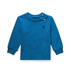 Camiseta Infantil Ralph Lauren Azul Manga Longa Menino