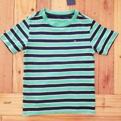 Camiseta Manga Curta Tommy Infantil Verde Listrada