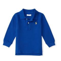 Camiseta Polo Ralph Lauren Infantil Azul Manga Longa