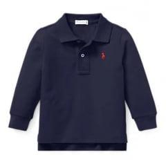 Camiseta Polo Ralph Lauren Infantil Azul Marinho Manga Longa