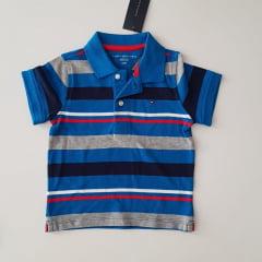 Camiseta Polo Tommy Infantil Azul Listrada