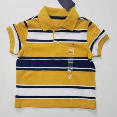 Camiseta Polo Tommy Infantil Listrado Amarelo